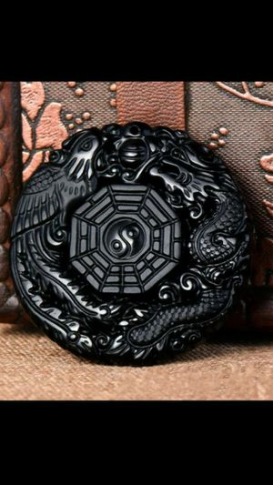 """Pretty lucky amulet natural obsidian dragon phoenix bagua carved pendant bead cord necklace 30"""" for Sale in El Sobrante, CA"""