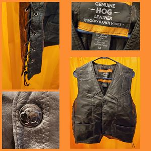 Black leather motorcycle vest $35 for Sale in ROXBURY CROSSING, MA