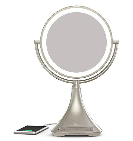 """iHome All-in-One, 7X Magnify, 9"""" 2-Sided LED Makeup Mirror, Bright LED Light Up Mirror, Natural Light, Double-Sided Vanity Mirror"""