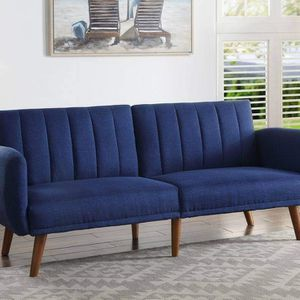 MID CENTURY MODERN BLUE LINEN FUTON ADJUSTABLE SOFA BED - SILLON CAMA MUEBLES for Sale in Downey, CA