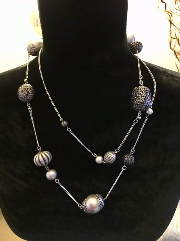 """44"""" Silver/Gray Necklace - Can be wrapped around for a different look"""