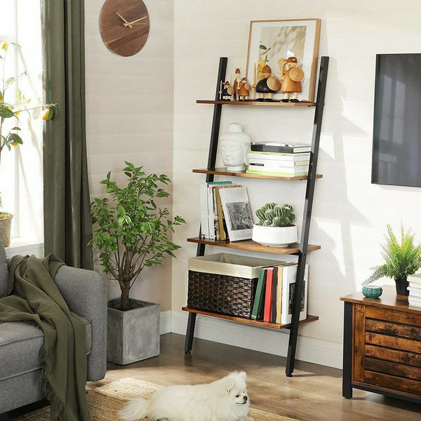 Industrial Ladder Shelf, 4-Tier Bookshelf, Storage Rack Shelves / Stable, Sloping, Leaning Against The Wall