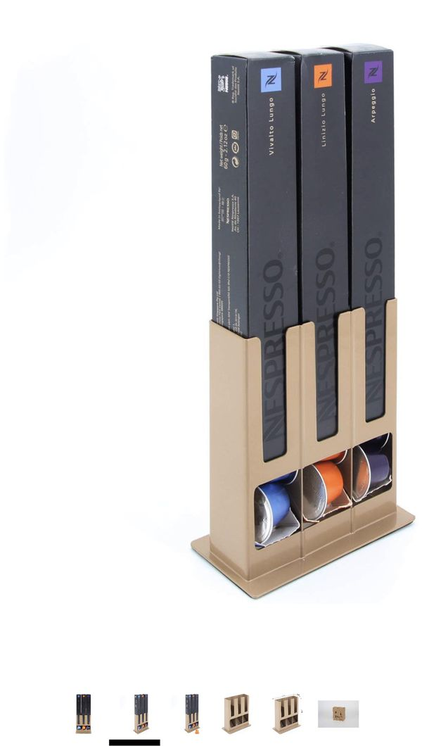 Flagship Coffee Pod Holder Capsule Storage Rack for Nespresso Originaline (Golden, 3 Boxes)