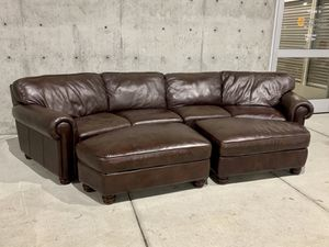 Basset Leather Conversation Sofa & Ottomans for Sale in Issaquah, WA