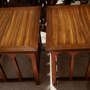 Pair Of Unique Vintage Solid Satinwood Top End Tables / Accent Tables for Sale in Gaithersburg, MD