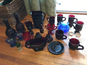Large lot of vintage and antique glass ware, cups, mugs, gravy boat, shot glasses, and more! Red glass, blue glass, etc for Sale in San Diego, CA