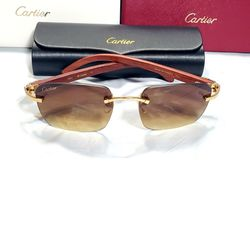 New Cartier Gold Wood Square Lens Sunglasses Glasses for Sale in East Hartford,  CT