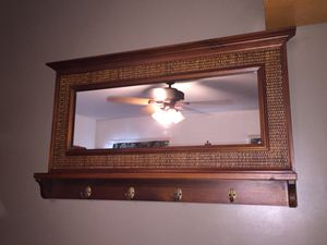 Beautiful antique hall mirror, shelf, hooks, coat tree... see also coat rack entry mirror.. for Sale in San Diego, CA