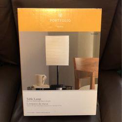 Portfolio Erskin Table Lamp Black Finish White Rice Paper Shade In-line Switch for Sale in Centreville,  VA