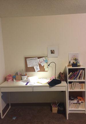 Desk + book cupboard + desk lamp + bulletin board + small mirror + large books cupboard for Sale in Malden, MA