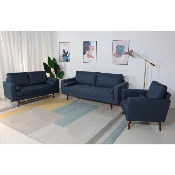 Brand New Stationary Linen Fabric Living Room Sofa Set