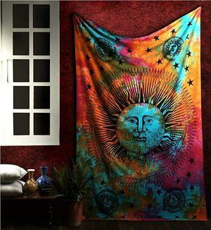 Sun Moon Stars Tie Dye Mandala Tapestry Hippie Hippy Celestial Wall Hanging Indian Trippy Bohemian Tapestries for Sale in Glendora, CA