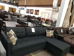 Reversible fabric sectional with pillows. Brand new. Colors: Grey, black, brown. for Sale in Frisco, TX