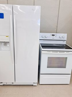 Whirlpool Side By Side Refrigerator And Electric Stove Set Excellent Condition 4 Months Warranty for Sale in Rockville,  MD