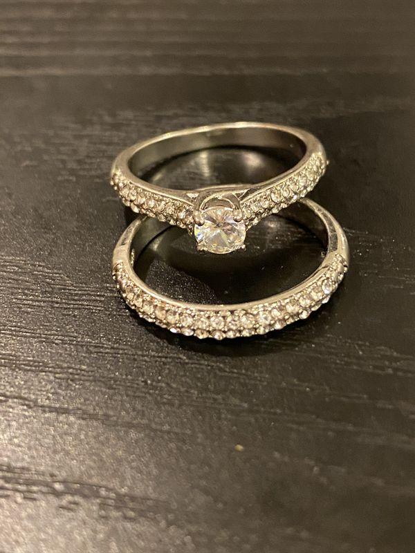 925 sterling silver Engagement/Wedding Ring Set- Code GAND01