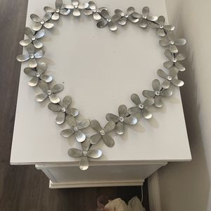 Silver And Crystal Wall Art. Heart With Daisies . for Sale in Pompano Beach, FL
