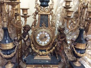 Antique French porcelain clock and candelabra set, Louis XVI style, imperial with German movement for Sale in Los Angeles, CA