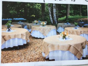 72 X 72 Burlap Overlays. Qty 12 table cloth for Sale in Gresham, OR