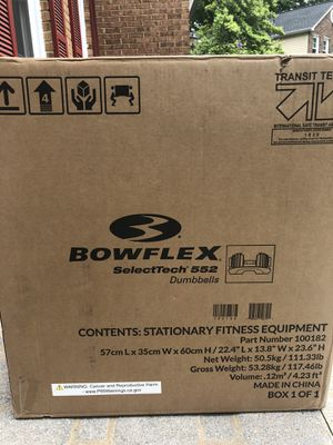 Brand New Bowflex SelectTech 552 - Two Adjustable Dumbbell Set for Sale in Springfield, VA