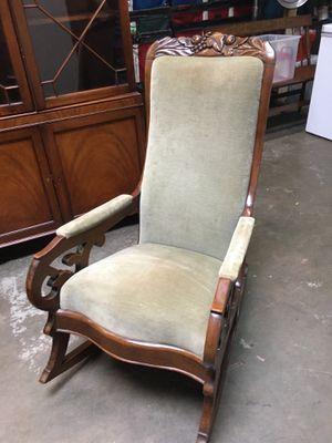 Beautiful XL antique velvet rocker -custom upholstery-excellent shape! for Sale in Glenview, IL