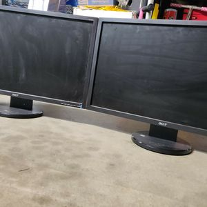"""Two - 24"""" Acer PC Monitor Displays! for Sale in Fresno, CA"""