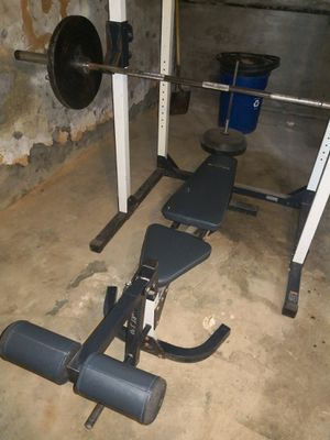 Adjustable Full bench press set, Olympic bar, and weights for Sale in Sharon Hill, PA