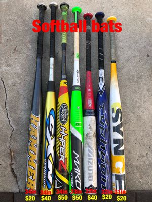 Softball gloves and softball bats equipment Easton mako demarini mizuno Louisville slugger Rawlings Wilson easton for Sale in Los Angeles, CA