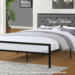 NEW, QUEEN Size Metal Platform Bed (Fully Slated NO BOX SPRING REQUIRED) with Linen Fabric Headboard , SKU# 7577Q for Sale in Huntington Beach,  CA