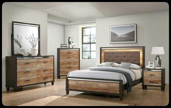 🆕Global🆕 Pierre Brown LED Panel Bedroom Set