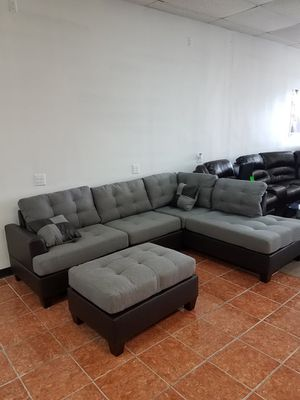 Sectional Polyfiber w/ Ottoman Living Room [Only $50 Down] [90 Days to Pay Cash Price & No Interest] for Sale in Irving, TX