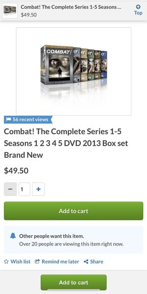 Combat! The Compete Series. 40 DVD Set for Sale in St. Louis, MO