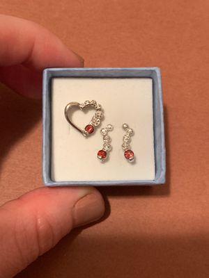 Sterling silver garnet January birthstone heart pendant and earring set for Sale in Glendale, AZ