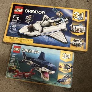 Lego Creator 3 In 1 Sets 31066 Space Shuttle Explorer & 31088 Deep Sea Creatures for Sale in Milpitas, CA