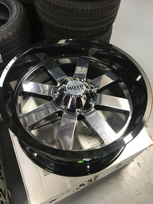 "Brand New 22"" Inch Moto Metal MO962 22X10 Chrome Black Lip Wheels Rims 5X150 5X5.91 5X5.5 5X139.7 for Sale in Austin, TX"