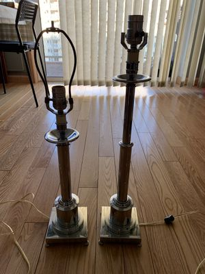 Vintage Pair Mid-Century ART DECO Metal Table Desk Lamps Folder 19-25 Inches. for Sale in Queens, NY