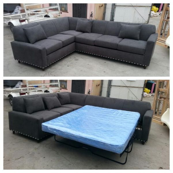 NEW 7X9FT ANNAPOLIS GRANITE FABRIC SECTIONAL WITH SLEEPER COUCHES