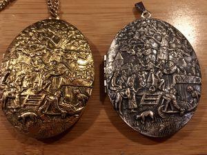 "pair of 2 3/8"" L 2"" W Antique locket pendant frame w ornate drunken festival scene for Sale in Portland, OR"
