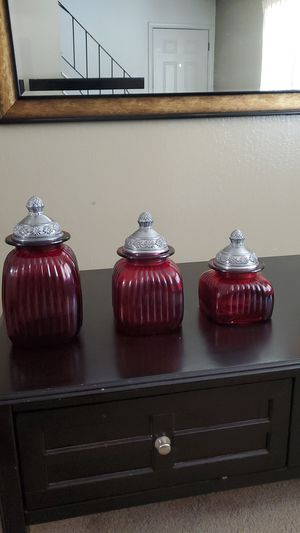 Three Red Stained glass storage containers for Sale in Hayward, CA