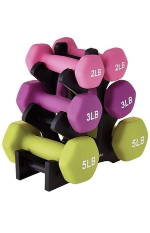 Dumbbell weights 6 weights plus stand 5 pound pair 3 pound pair 2 pound pair Hex Neoprene Dumbbell Set of 3 Different Sizes. 20lbs Total 2 x 5lb for Sale in Scottsdale, AZ