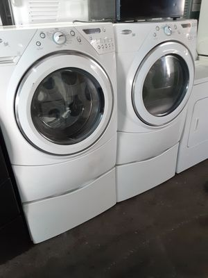 $699 whirlpool light washer dryer set includes storage pedestals delivery in the San Fernando Valley a warranty and installation for Sale in Los Angeles, CA