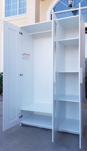 $130 IS FINAL! NEW Ikea White 3 Door Mirror Mirrored Closet Wardrobe + 1 Clothes Rod + 4 Adjustable Shelves Stand Unit for Sale in Monterey Park, CA