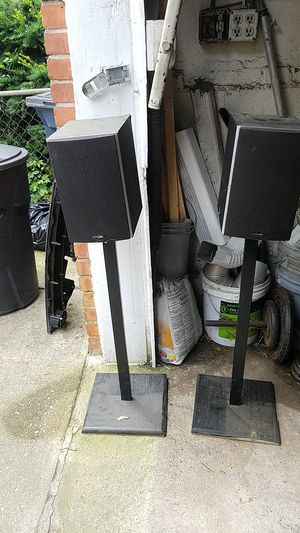 Polk audio speakers with black stands for Sale in Riverdale Park, MD