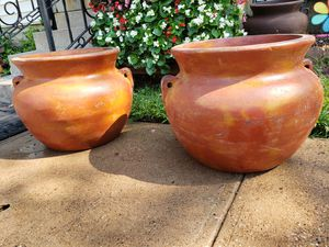 Large clay flower pots for Sale in Garland, TX