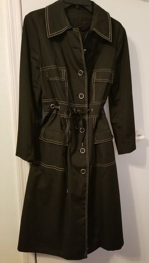 New raincoat size MED black w/white stitch detail for Sale in Tampa, FL