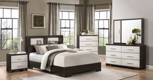 Pell White/Espresso Panel Bookcase Bedroom Set-Queen bed, nightstand, dresser, mirror -$39 Down Payment/Online/Same-Day Delivery for Sale in Pearland, TX