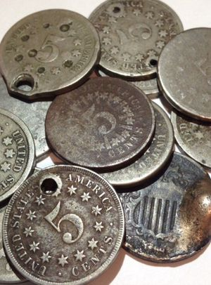 Twelve (12) Rare 1866-1883 Shield Nickels- Much Harder To Find Than Liberty & Buffalo Nickels- Some With Strong Details, But Cull Grade- Exact Coins for Sale in Fairfax, VA