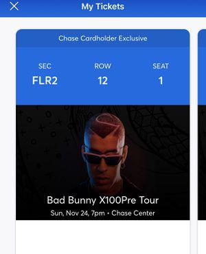 Bad bunny concert tickets 11/24/19 chase center for Sale in El Sobrante, CA