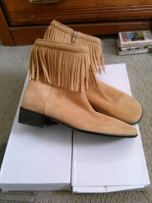 Tan Fringed Moccasin Boots Sz. 7 New. .25.00 for Sale in Attleboro, MA