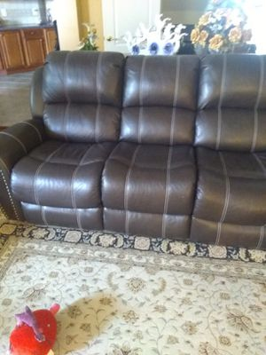 Real genuine Italian leather recliner nailhead trim sofa loveseat and chair brown for Sale in Gaithersburg, MD