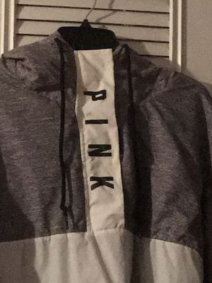 Pink grey white and black hoodie w/ fur hood for Sale in Parkville, MD